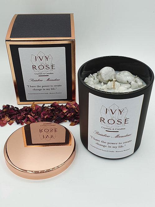 Rainbow Moonstone crystal infused candle in black jar with rose gold lid