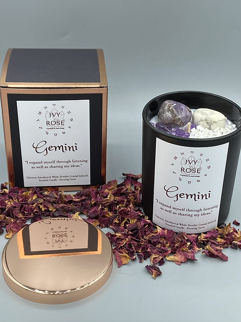 Gemini crystal candle with chevron amethyst and howlite in black jar with rose gold lid and box