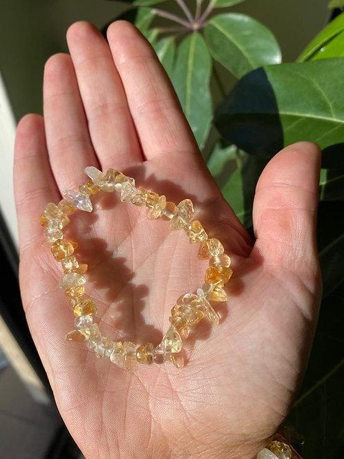Citrine crystal bracelet close-up view