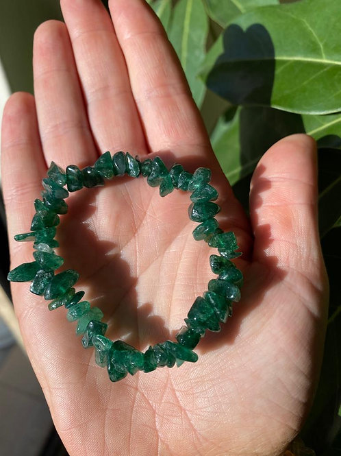 Green fuchsite crystal bracelet close-up view