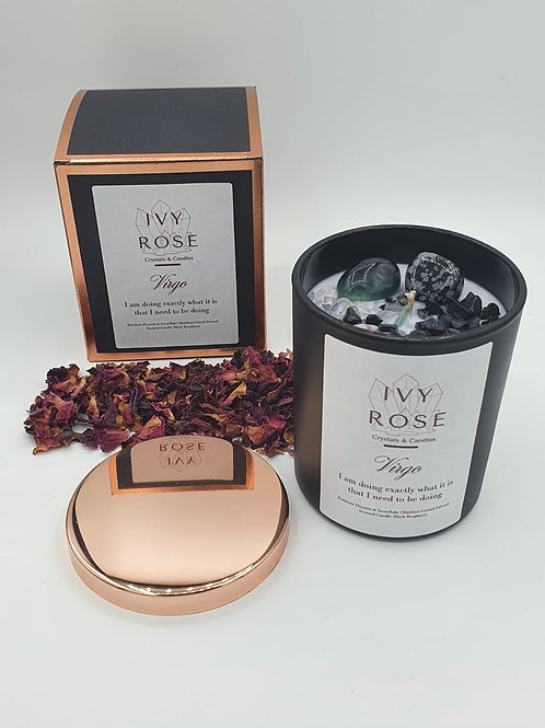 Virgo crystal candle with rainbow fluorite and snowflake obsidian in black jar with rose gold lid and box