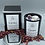 Gemini crystal candle with chevron amethyst and howlite in black jar with silver lid and box