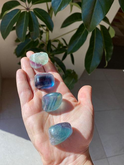 Rainbow fluorite tumbled stones