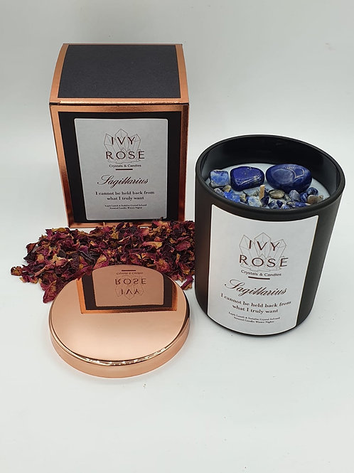 Sagittarius crystal candle with lapis lazuli and sodalite in black jar with rose gold lid and box