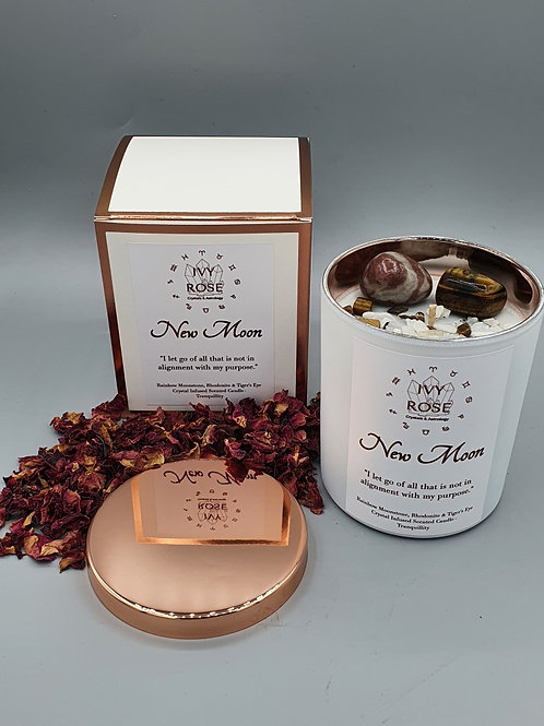 New Moon crystal candle with rhodonite, tigers eye and moonstone in white rose gold jar with rose gold lid and box