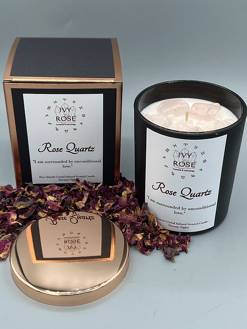 Rose quartz candle in black jar with rose gold lid and box