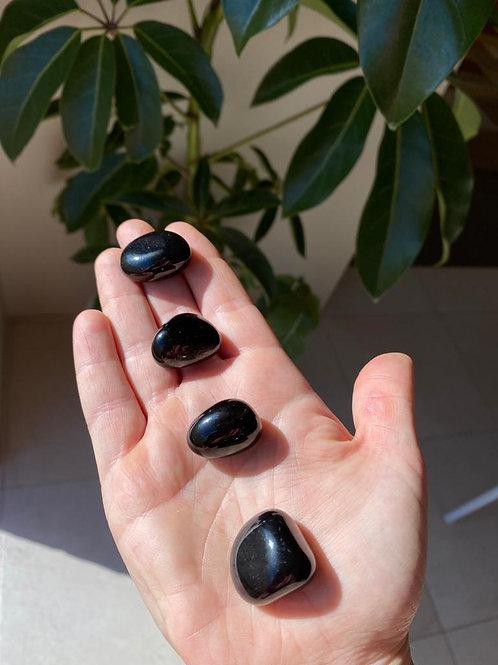 Black obsidian tumbled stones