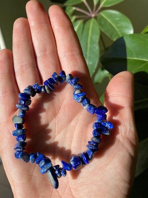 Lapis lazuli crystal bracelet close-up view