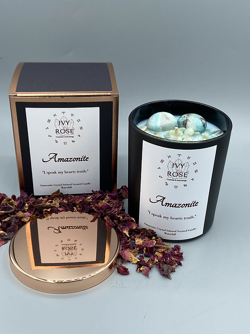 Amazonite candle in black jar with rose gold lid and box