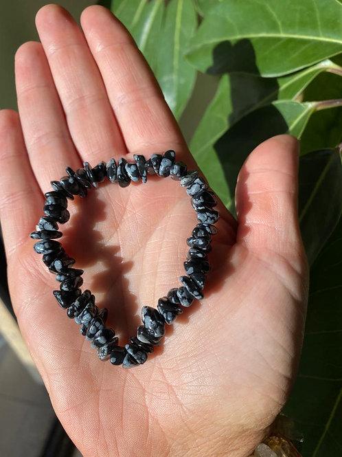 Obsidian crystal bracelet close-up view