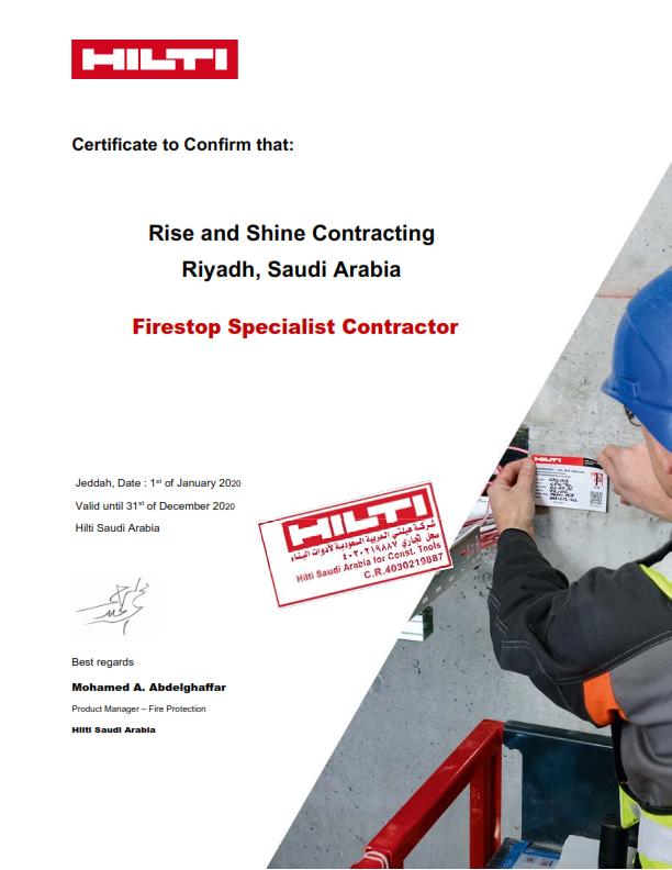 HILTI Certificate Rise & Shine KSA