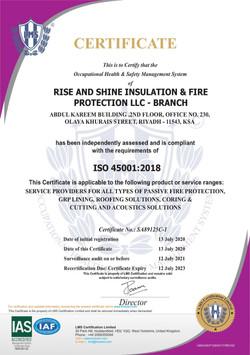 ISO CERTIFICATE -RSIFP KSA - 45001-2018.