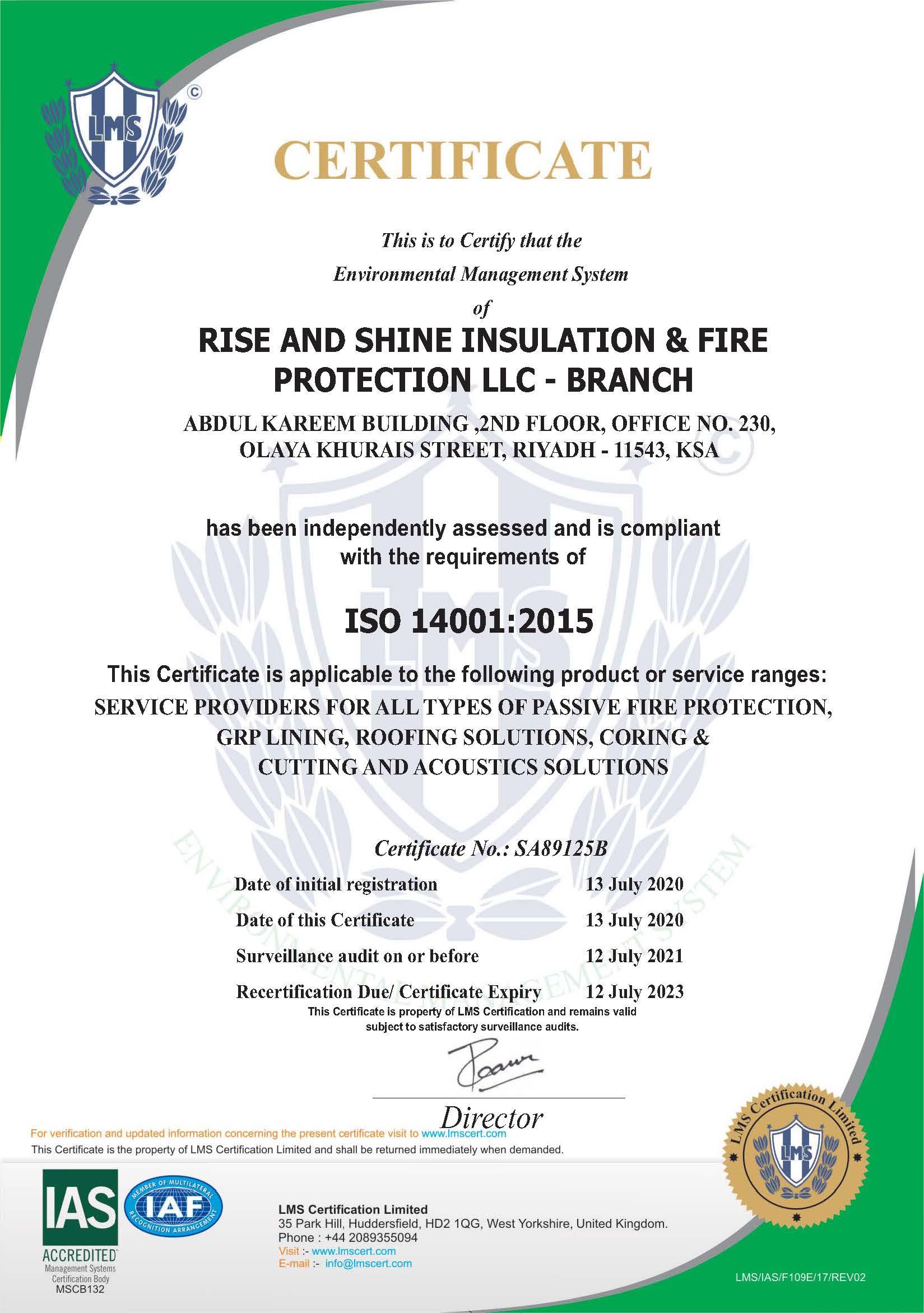 ISO CERTIFICATE -RSIFP KSA - 14001-2015.
