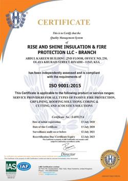 ISO CERTIFICATE -RSIFP KSA - 9001-2015