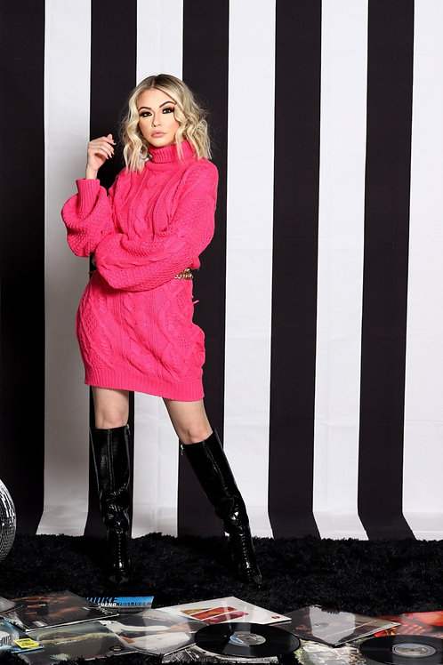 Pink Chunky Cable Knit Sweater Dress
