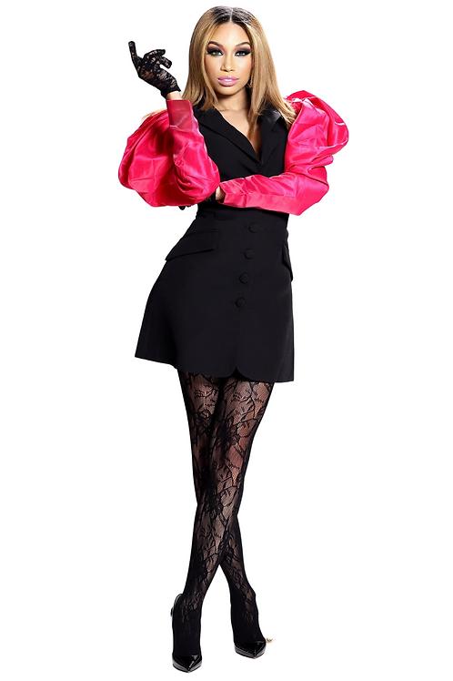 Color Block Puffer Sleeve Blazer Dress