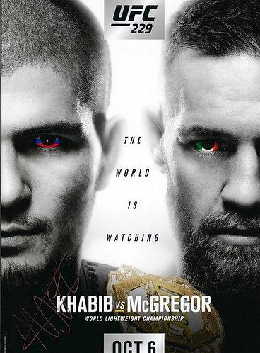 KHABIB NURMAGOMEDOV THE EAGLE SIGNED UFC 16x12 KHABIB MCGREGOR PHOTOGRAPH