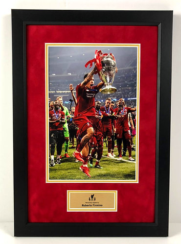 ROBERTO FIRMINO FRAMED SIGNED 12x8 CHAMPIONS LEAGUE CHAMPION PHOTO