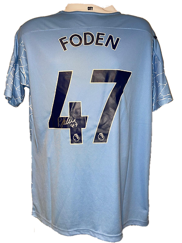 PHIL FODEN SIGNED 20/21 MAN CITY HOME SHIRT