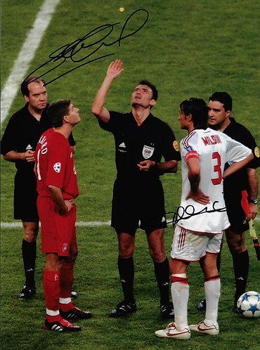 PAOLO MALDINI & STEVEN GERRARD SIGNED 16x12 LFC ISTANBUL 2005 PHOTOGRAPH