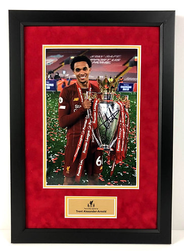 TRENT ALEXANDER-ARNOLD FRAMED SIGNED 12x8 PREMIER LEAGUE CHAMPIONS PHOTO