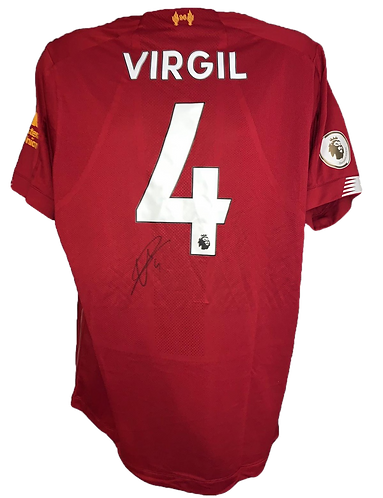 VIRGIL VAN DIJK SIGNED LFC 2019/20 HOME SHIRT WITH CHAMPIONS PRINT