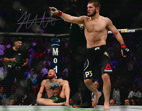 KHABIB NURMAGOMEDOV SIGNED UFC 14x11 UFC CHAMPIO PHOTOGRAPH