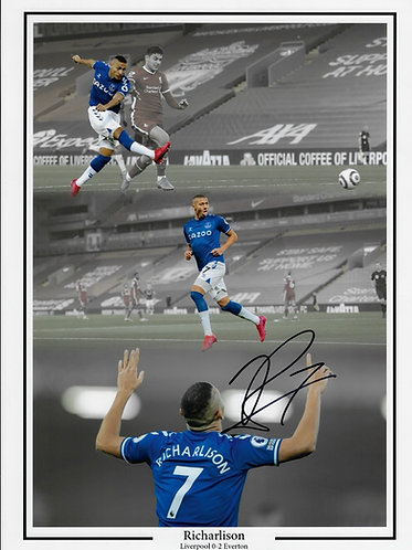 RICHARLISON SIGNED 16x12 EVERTON ANFIELD DERBY WIN MONTAGE