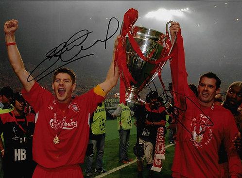 STEVEN GERRARD & JAMIE CARRAGHER SIGNED 16x12 LFC ISTANBUL 2005 PHOTOGRAPH