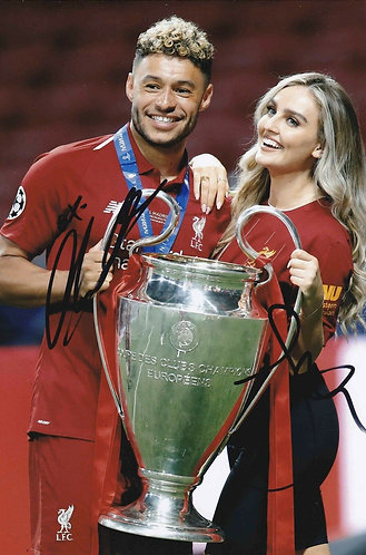 ALEX OXLADE CHAMBERLAIN & PERRIE EDWARDS SIGNED 12x8 LFC CHAMPIONS LEAGUE PHOTO