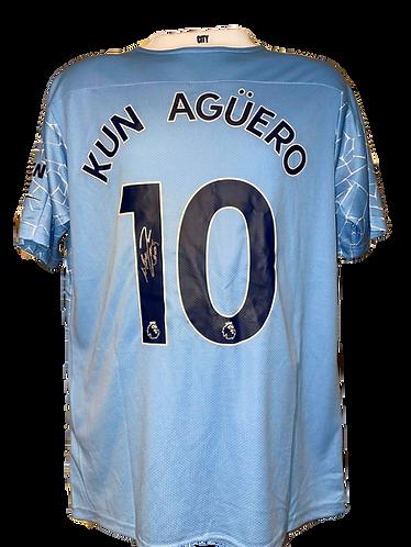 SERGIO KUN AGUERO SIGNED 20/21 MAN CITY HOME SHIRT