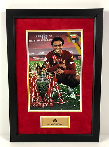 TRENT ALEXANDER-ARNOLD FRAMED SIGNED 12x8 PREMIER LEAGUE CHAMPION PHOTO