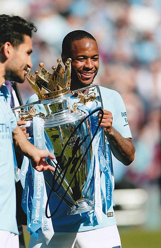 RAHEEM STERLING SIGNED MANCHESTER CITY 12X8 CHAMPIONS PHOTOGRAPH