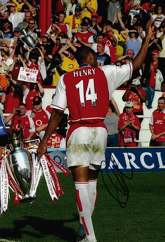 THIERRY HENRY SIGNED ARSENAL 12X8 CHAMPIONS PHOTO