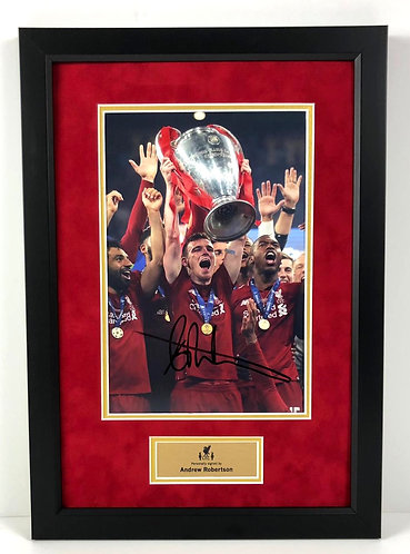 ANDREW ROBERTSON FRAMED SIGNED 12x8 CHAMPIONS LEAGUE CHAMPIONS PHOTO