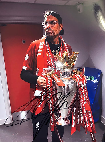 JURGEN KLOPP SIGNED 12x8 PREMIER LEAGUE WINNERS PHOTO