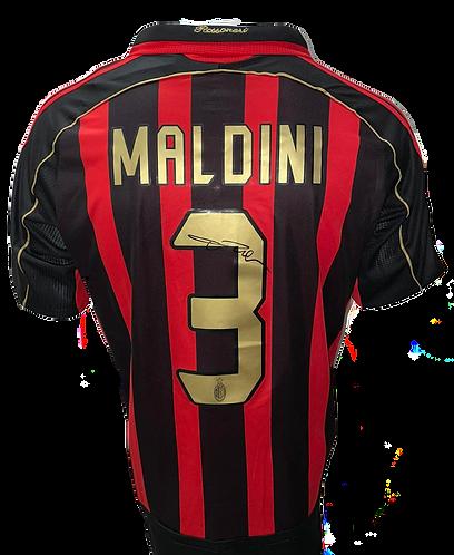 PAOLO MALDINI SIGNED AC MILAN RETRO 2007 ADIDAS HOME SHIRT