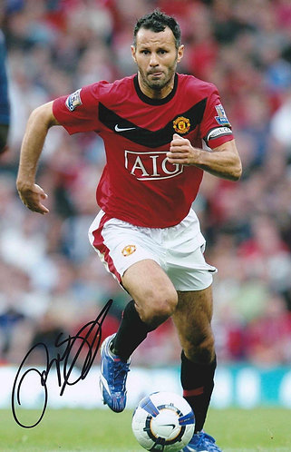 RYAN GIGGS SIGNED MANCHESTER UNITED 12X8 PHOTOGRAPH