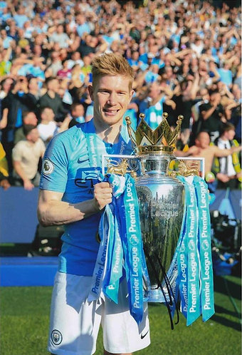 KEVIN DE BRUYNE SIGNED MANCHESTER CITY 12X8 PHOTOGRAPH