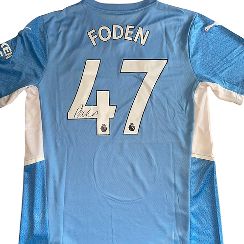 PHIL FODEN SIGNED 21/22 MAN CITY HOME SHIRT