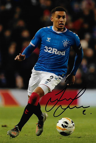 JAMES TAVERNIER SIGNED GLASGOW RANGERS 12x8 PHOTOGRAPH