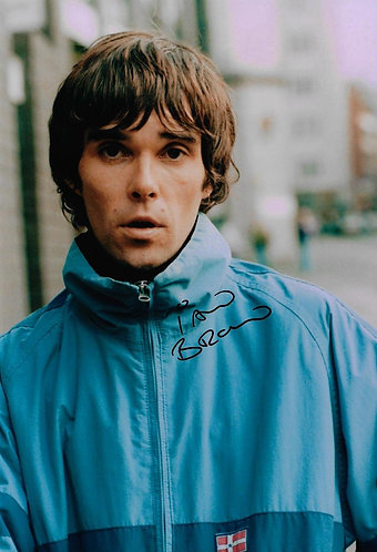 IAN BROWN SIGNED 12X8 STONE ROSES PHOTOGRAPH