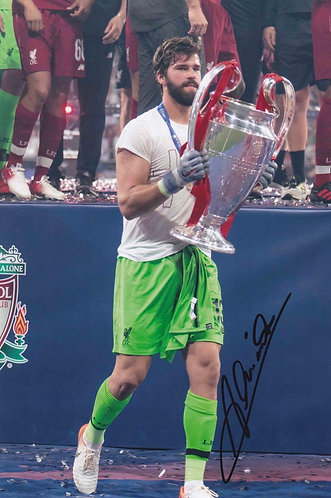 ALISSON BECKER SIGNED 12x8 LFC CHAMPIONS LEAGUE PHOTOGRAPH