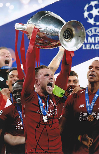 JORDAN HENDERSON SIGNED 12x8 LFC CHAMPIONS LEAGUE PHOTOGRAPH