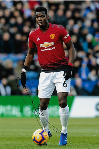 PAUL POGBA SIGNED 12X8 MANCHESTER UNITED PHOTOGRAPH