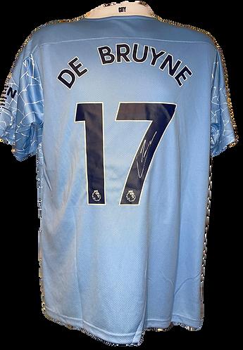 KEVIN DE BRUYNE SIGNED 20/21 MAN CITY HOME SHIRT