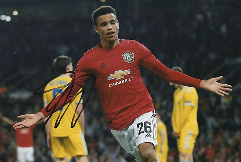 MASON GREENWOOD SIGNED MANCHESTER UNITED 12X8 PHOTOGRAPH