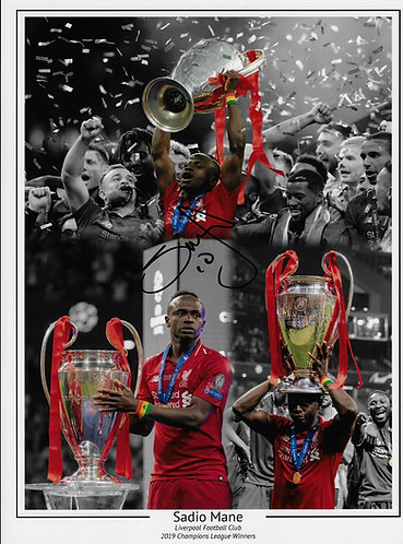 SADIO MANÉ SIGNED 16x12 LFC CHAMPIONS LEAGUE MONTAGE PHOTOGRAPH