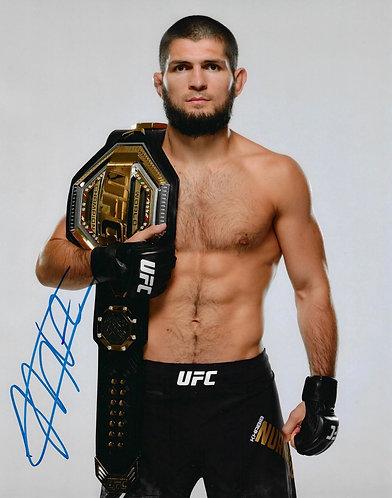 KHABIB NURMAGOMEDOV THE EAGLE SIGNED UFC 14x11 KHABIB MCGREGOR PHOTOGRAPH