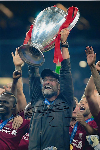 JURGEN KLOPP SIGNED 12x8 LFC CHAMPIONS LEAGUE WINNERS PHOTO